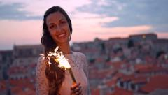 Joyful Happy Young Woman Beauty Summer Night Vacation Europe Romantic Location Stock Footage