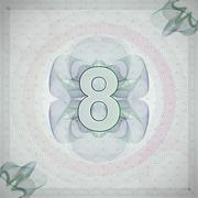 vector illustration of number 8 (eight) in guilloche ornate style. monetary - stock illustration