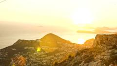 Sunset Over Cityscape Old Town Orange Colors Mountain Sea Vacation Holiday Stock Footage
