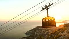 Beautiful View Of Old City Dubrovnik Cable Car Passing By Sunset Golden Colors Stock Footage