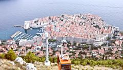 Old Town Dubrovnik Cable Car Passing Vacation Holiday Tourism Croatia Europe Stock Footage
