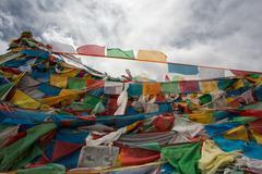 Pray flags in Tibet Stock Photos