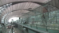 Suvarnabhumi International Airport Airport Interior Terminal Bangkok Thailand Stock Footage