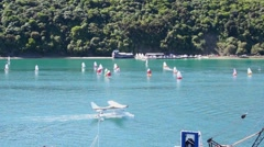 Aircraft and boats on the water Stock Footage