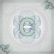 vector illustration of letter C in guilloche ornate style. monetary banknote - stock illustration