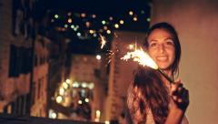 Young Happy Joyful Ecstatic Woman Dancing Happiness Fireworks Sparkler Holiday Stock Footage