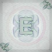 vector illustration of letter E in guilloche ornate style. monetary banknote - stock illustration