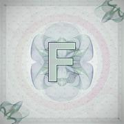 vector illustration of letter F in guilloche ornate style. monetary banknote - stock illustration