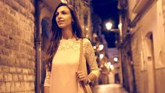 Beautiful Pretty Woman Walking Old Town Europe Night Outdoors Happy Travel Stock Footage