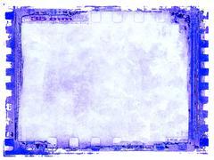 Blue vintage film strip frame - stock illustration