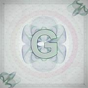 vector illustration of letter G in guilloche ornate style. monetary banknote - stock illustration