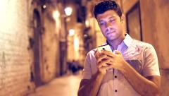 Young Man Texting Sms Using Smartphone Communication Concept Night Lights Travel Stock Footage