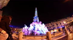 The famous Four Rivers Fountain in Piazza Navona at Night, Rome, Italy Stock Footage
