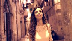 Attractive Young Woman Walking Alone Travel Italy Happy Joy Exploration Freedom Stock Footage