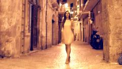 Gorgeous Beautiful Young Woman Walking Europe Town Streets Travel Sight Seeing Stock Footage