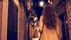 Pretty Young Woman Asking Alone Through Side Alley Old Town Europe Exploration Stock Footage