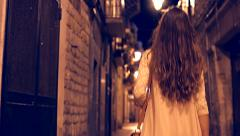 Beautiful Young Female Model Walking Europe Streets Tourism Night Travel Stock Footage