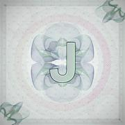 Vector illustration of letter J in guilloche ornate style. monetary banknote Stock Illustration