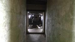 View inside gun bunker, Longues-sur-Mer WWII gun battery, Normandy, France. Stock Footage