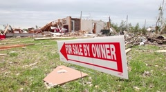 Tornado Damaged Yard - For Sale Sign Stock Footage
