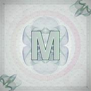 vector illustration of letter M in guilloche ornate style. monetary banknote - stock illustration
