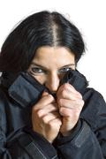 woman feeling cold. - stock photo