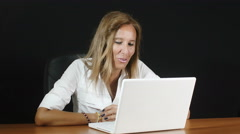Beautiful businesswoman working with laptop, personal computer Stock Footage