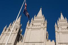 Mormon Church in Salt Lake city with a clear blue sky - stock photo