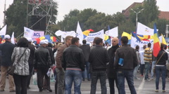 Citizens gathering in city square, wave national flags, politic elections day - stock footage