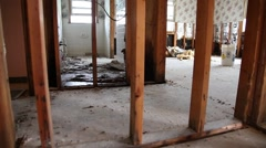 Flood Damaged House - Interior - Walls Removed Stock Footage