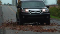 Car drives through leaves on road Stock Footage