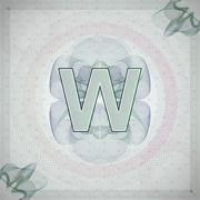 Vector illustration of letter W in guilloche ornate style. monetary banknote Stock Illustration