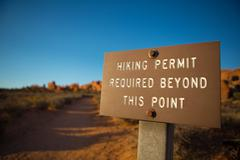 Hiking permit required Stock Photos