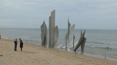 Les Braves Memorial, St. Laurent-sur-Mer, Normandy, France. Stock Footage