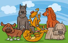 Stock Illustration of cute dogs group cartoon illustration