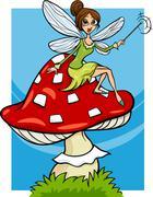 Elf fairy fantasy cartoon illustration Stock Illustration