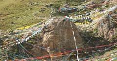 4k prayer flag on lhasa mountain,tibet. Stock Footage