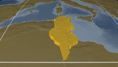 Tunisia extruded. Bumps. Graticule. Stock Footage