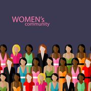 Vector flat  illustration of women community with a large group of girls and Stock Illustration