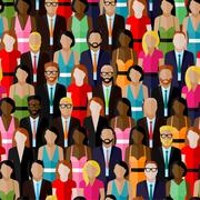 Vector seamless pattern with a large group of men and women. flat  illustration Stock Illustration