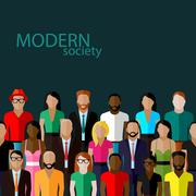 Vector flat  illustration of society members with a large group of men and women Stock Illustration