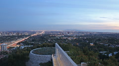 Motion Control Pan Time Lape of Twilight Cityscape in LA -Zoom In- Stock Footage