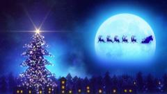 santa claus with reindeers loopable concpet - stock footage