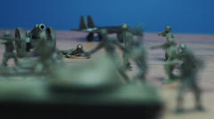 Toy soldiers with war background sound Stock Footage
