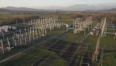 Aerial - Electrical energy facility in a countryside - stock footage