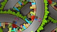 Traffic, abstract video of a city on the background of the site roads Stock Footage