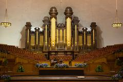 Church organ pipes and the Interior of the Mormon Tabernacle Tem - stock photo