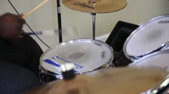 Playing Drum Kit - Tight shot of black hands - stock footage
