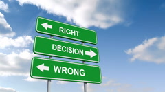 Right wrong decisions signs against blue sky - stock footage