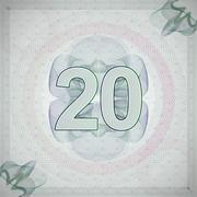 vector illustration of number 20 (twenty) in guilloche ornate style. monetary - stock illustration